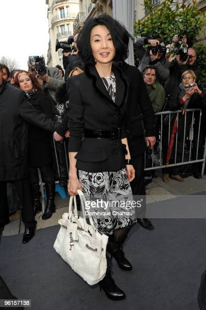 Maggie Cheung attends the Christian Dior HauteCouture show as part of the Paris Fashion Week Spring/Summer 2010 on January 25 2010 in Paris France