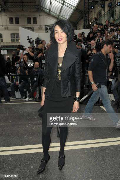 Maggie Cheung attends the Givenchy Pret a Porter show as part of the Paris Womenswear Fashion Week Spring/Summer 2010 at Lycee Carnot on October 4...