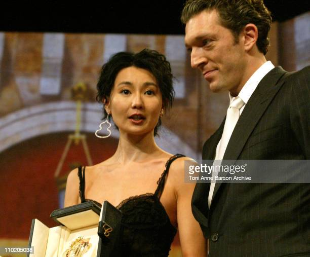 Maggie Cheung Best Actress and Vincent Cassel during 2004 Cannes Film Festival Closing Ceremony Awards at Palais Des Festivals in Cannes France