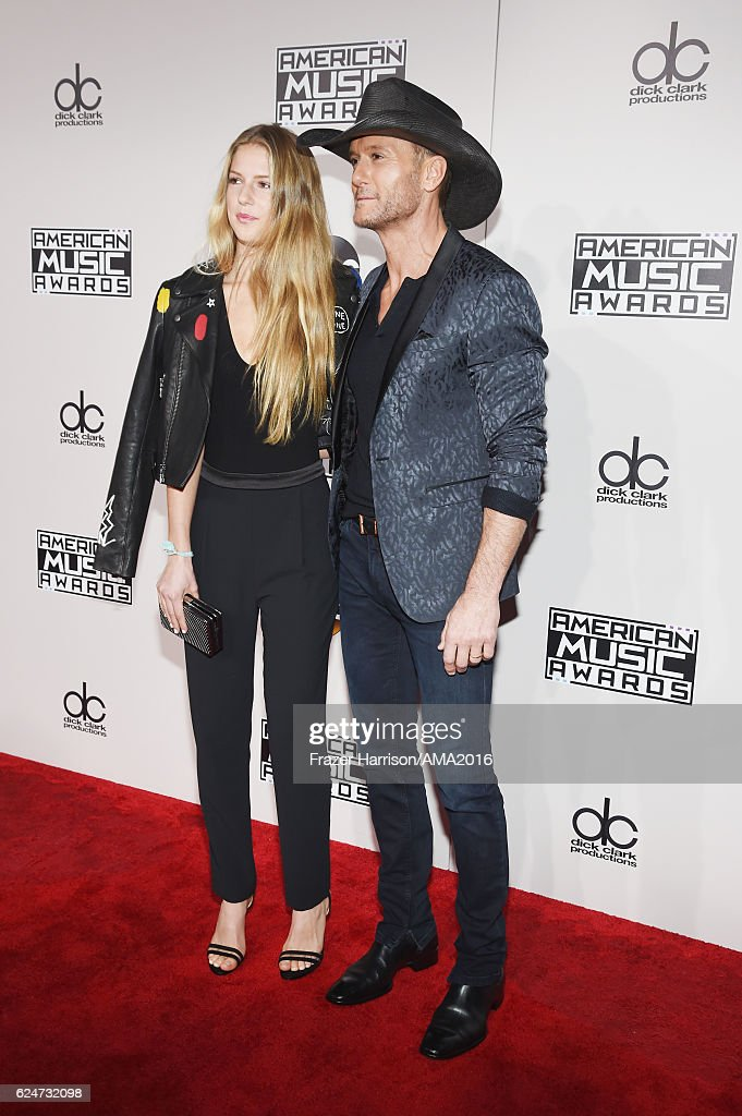 Maggie Elizabeth McGraw (L) and musician Tim McGraw attend the 2016 American Music Awards at Microsoft Theater on November 20, 2016 in Los Angeles, California.