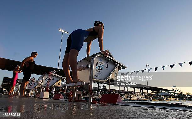 Maggie Emary stretches before competing in the 1500m Freestyle Prelim during day one of the Arena Pro Swim Series at the Skyline Acquatic Center on...