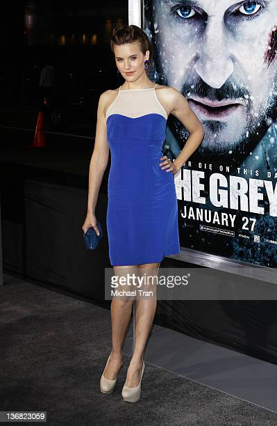 Maggie Grace arrives at the Los Angeles premiere of 'The Grey' held at Regal Cinemas LA Live on January 11 2012 in Los Angeles California