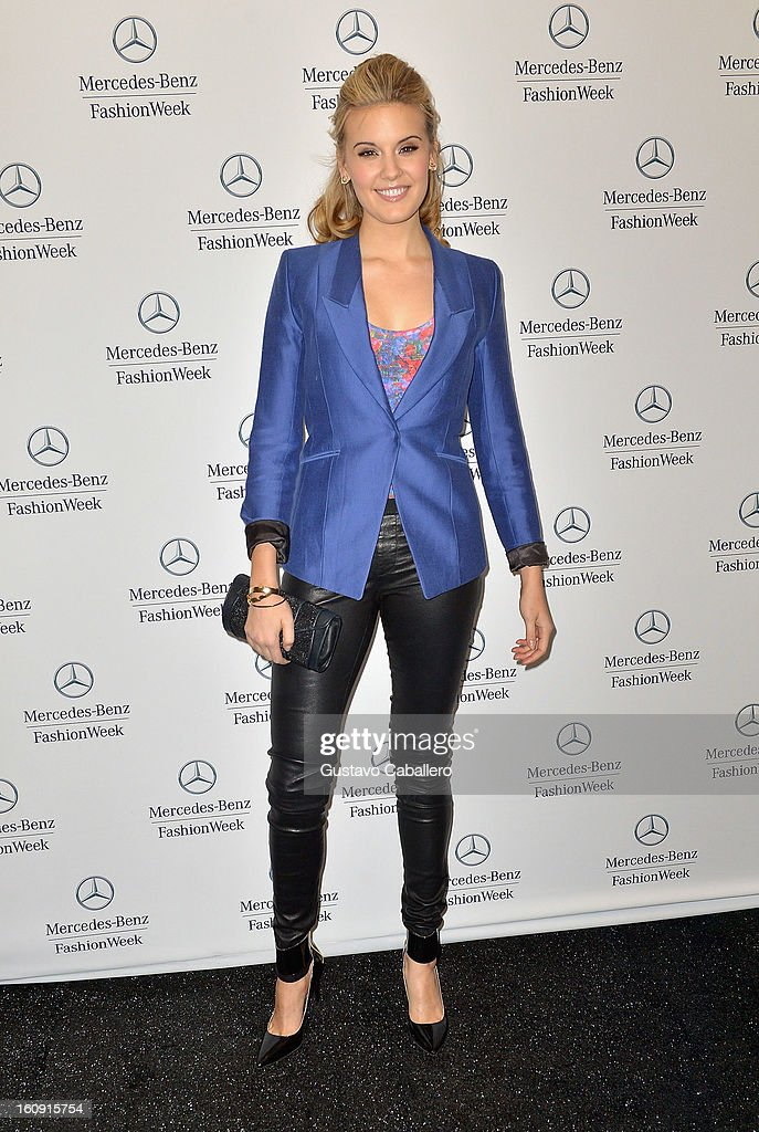 Maggie Grace is seen during Fall 2013 Mercedes-Benz fashion week at Lincoln Center on February 7, 2013 in New York City.