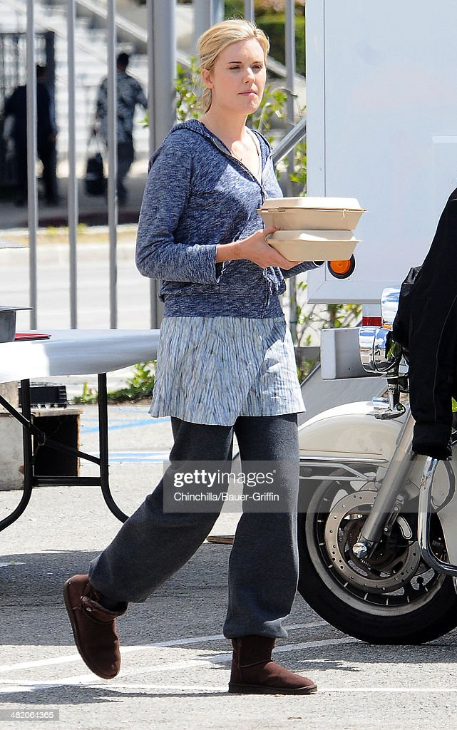 Maggie Grace is seen getting lunch on the set of 'Taken 3' on April 02, 2014 in Los Angeles, California.