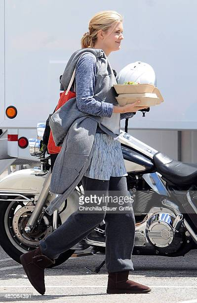 Maggie Grace is seen getting lunch on the set of 'Taken 3' on April 02 2014 in Los Angeles California