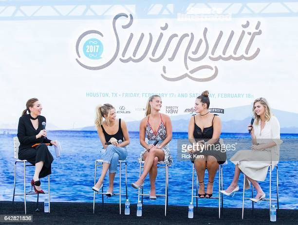 Maggie Gray SI Swimsuit models Hailey Clauson Nina Agdal Ashley Graham and Kate Upton speak during a panel at the VIBES by Sports Illustrated...
