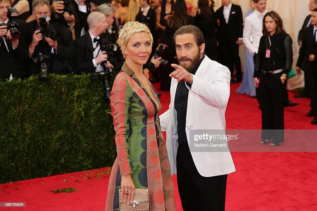 Maggie Gyllenhaal and Jake Gyllenhaal attend the 'Charles James: Beyond Fashion' Costume Institute Gala at the Metropolitan Museum of Art on May 5, 2014 in New York City.