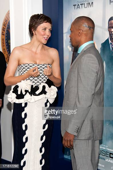 Maggie Gyllenhaal and Jamie Foxx attend the 'White House Down' premiere at the Ziegfeld Theater on June 25 2013 in New York City