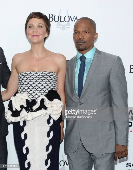Maggie Gyllenhaal and Jamie Foxx attend 'White House Down' New York premiere at Ziegfeld Theater on June 25 2013 in New York City