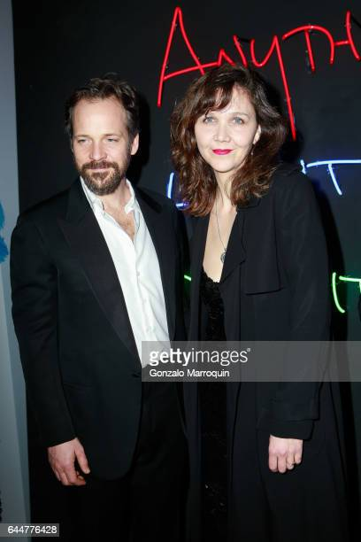 Maggie Gyllenhaal and Peter Saarsgaard attended 'Sunday In The Park With George' on Opening Night at The Hudson Theatre on February 23 2017 in New...