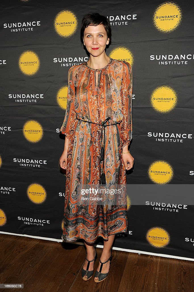 <a gi-track='captionPersonalityLinkClicked' href=/galleries/search?phrase=Maggie+Gyllenhaal&family=editorial&specificpeople=202607 ng-click='$event.stopPropagation()'>Maggie Gyllenhaal</a> attends the 2013 Sundance Institute Theatre Program Benefit at Stephen Weiss Studio on April 8, 2013 in New York City.