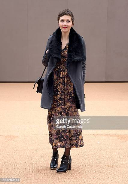 Maggie Gyllenhaal attends the Burberry Prorsum AW 2015 arrivals during London Fashion Week at Kensington Gardens on February 23 2015 in London England