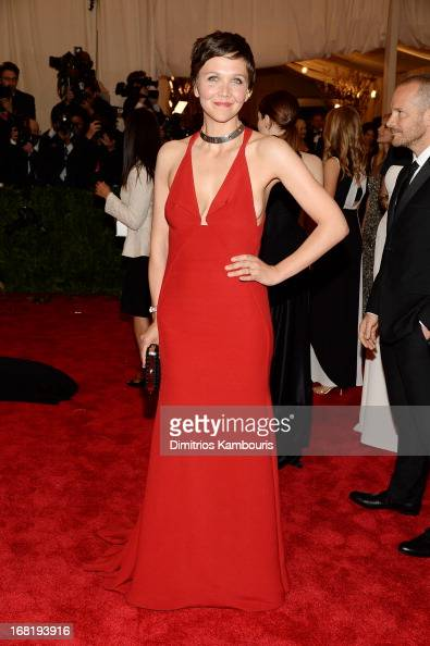 Maggie Gyllenhaal attends the Costume Institute Gala for the 'PUNK Chaos to Couture' exhibition at the Metropolitan Museum of Art on May 6 2013 in...