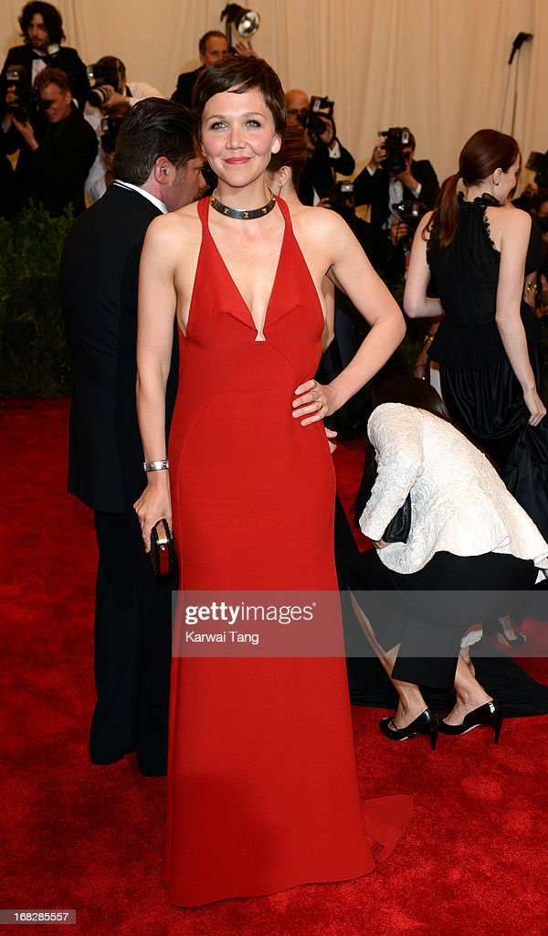 <a gi-track='captionPersonalityLinkClicked' href=/galleries/search?phrase=Maggie+Gyllenhaal&family=editorial&specificpeople=202607 ng-click='$event.stopPropagation()'>Maggie Gyllenhaal</a> attends the Costume Institute Gala for the 'PUNK: Chaos to Couture' exhibition at the Metropolitan Museum of Art on May 6, 2013 in New York City.
