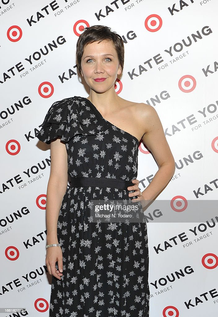 <a gi-track='captionPersonalityLinkClicked' href=/galleries/search?phrase=Maggie+Gyllenhaal&family=editorial&specificpeople=202607 ng-click='$event.stopPropagation()'>Maggie Gyllenhaal</a> attends the <a gi-track='captionPersonalityLinkClicked' href=/galleries/search?phrase=Kate+Young+-+Stylist&family=editorial&specificpeople=15146765 ng-click='$event.stopPropagation()'>Kate Young</a> For Target Launch at The Old School NYC on April 9, 2013 in New York City.