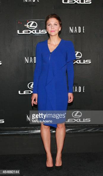 Maggie Gyllenhaal attends the Lexus Design Disrupted Gareth Pugh fashion show during MADE Fashion Spring 2015 at Pier 36 on September 4 2014 in New...