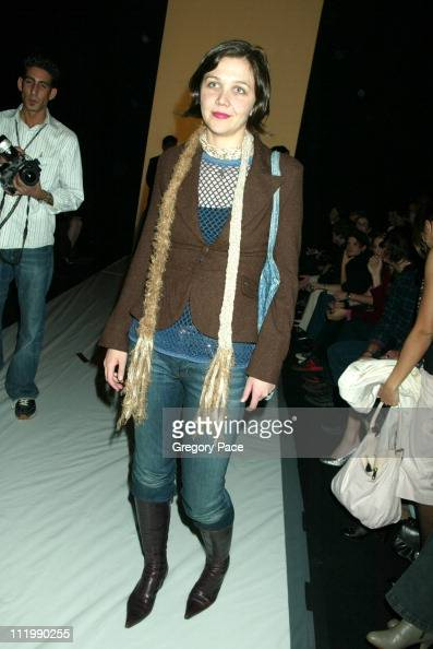 Maggie Gyllenhaal during Marc Jacobs 2003 Fall Collection attendees at NY State Armory in New York NY United States