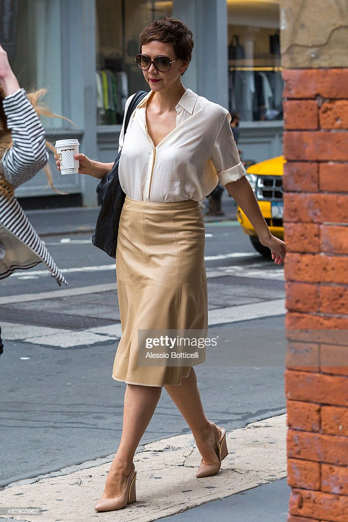 Maggie Gyllenhaal is seen walking in SoHo after lunch at Le Pain Quotidien on July 29 2014 in New York City
