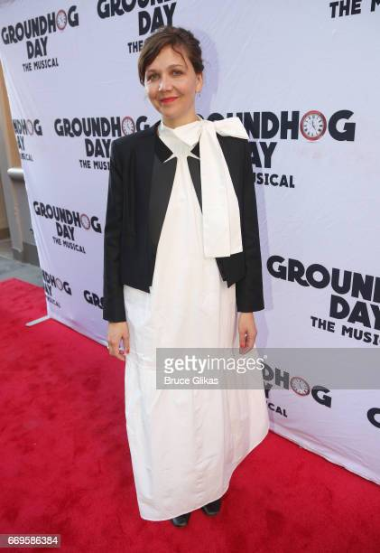 Maggie Gyllenhaal poses at the opening night of the new musical based on the film 'Groundhog Day' on Broadway at The August Wilson Theatre on April...