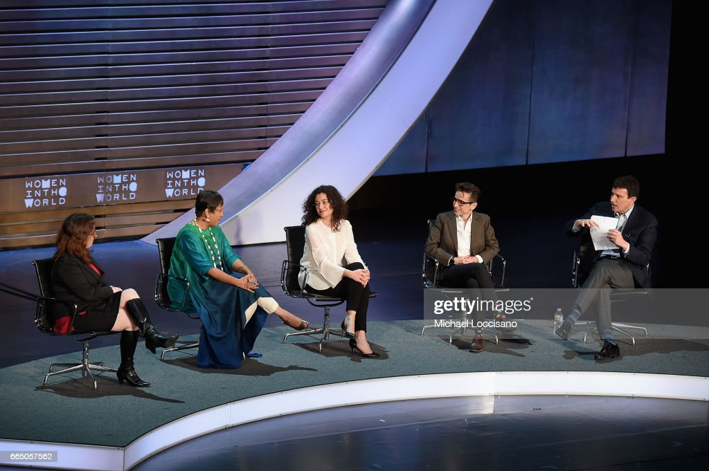 Maggie Haberman, Barkha Dutt, Ece Temelkuran, Masha Gessen, and David Remnick speak during the Eighth Annual Women In The World Summit at Lincoln Center for the Performing Arts on April 5, 2017 in New York City.