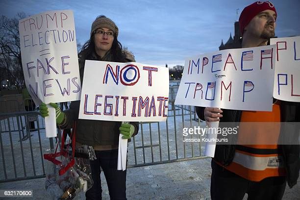 Maggie Larson left and her husband Michael Larson travelled from Philadelphia to protester inauguration of Donald Trump on the National Mall on...