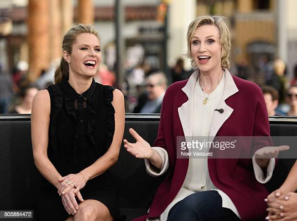Maggie Lawson and Jane Lynch visit 'Extra' at Universal Studios Hollywood on January 20 2016 in Universal City California
