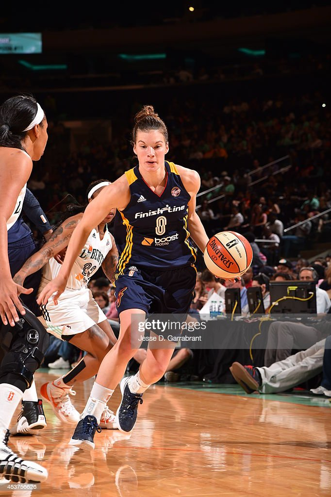 <a gi-track='captionPersonalityLinkClicked' href=/galleries/search?phrase=Maggie+Lucas&family=editorial&specificpeople=7449966 ng-click='$event.stopPropagation()'>Maggie Lucas</a> #8 of the Indiana Fever drives against the New York Liberty during the game on August 17, 2014 at Madison Square Garden in New York, New York.