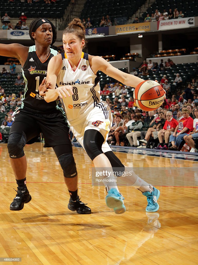 <a gi-track='captionPersonalityLinkClicked' href=/galleries/search?phrase=Maggie+Lucas&family=editorial&specificpeople=7449966 ng-click='$event.stopPropagation()'>Maggie Lucas</a> #8 of the Indiana Fever drives to the basket against Sugar Rodgers #14 of the New York Liberty on August 23, 2015 in Indianapolis, Indiana.