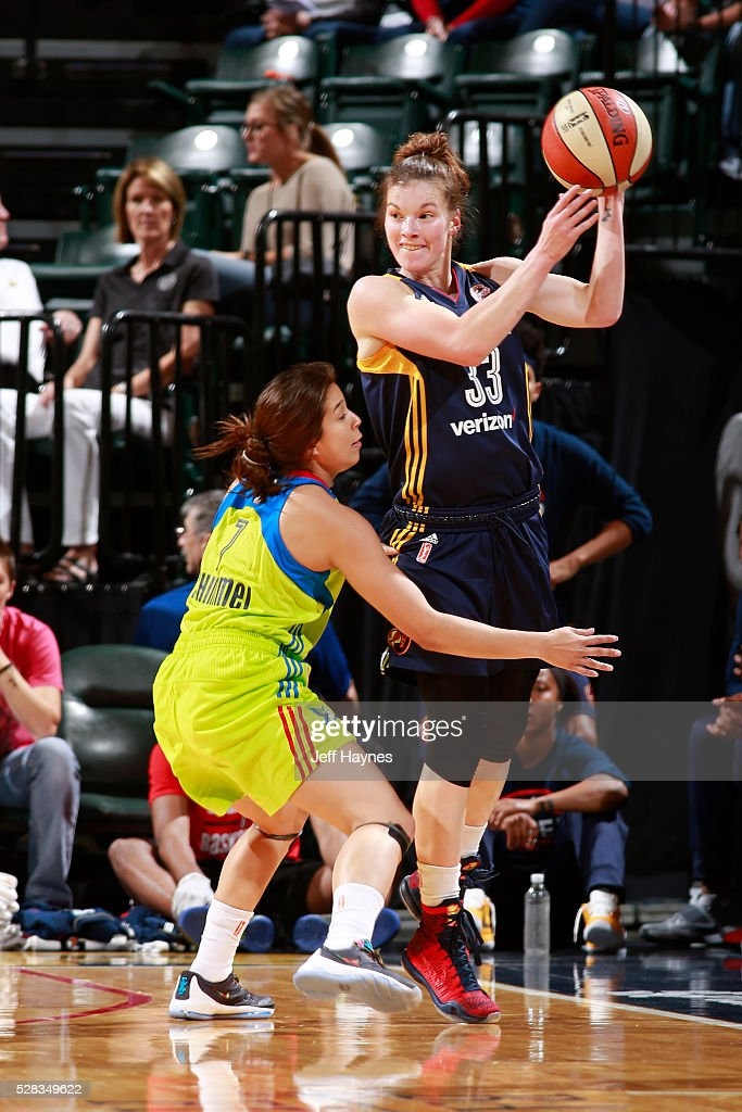 <a gi-track='captionPersonalityLinkClicked' href=/galleries/search?phrase=Maggie+Lucas&family=editorial&specificpeople=7449966 ng-click='$event.stopPropagation()'>Maggie Lucas</a> #33 of the Indiana Fever handles the ball against the Dallas Wings during a WNBA preseason game at Bankers Life Fieldhouse on May 1, 2016 in Indianapolis, Indiana.