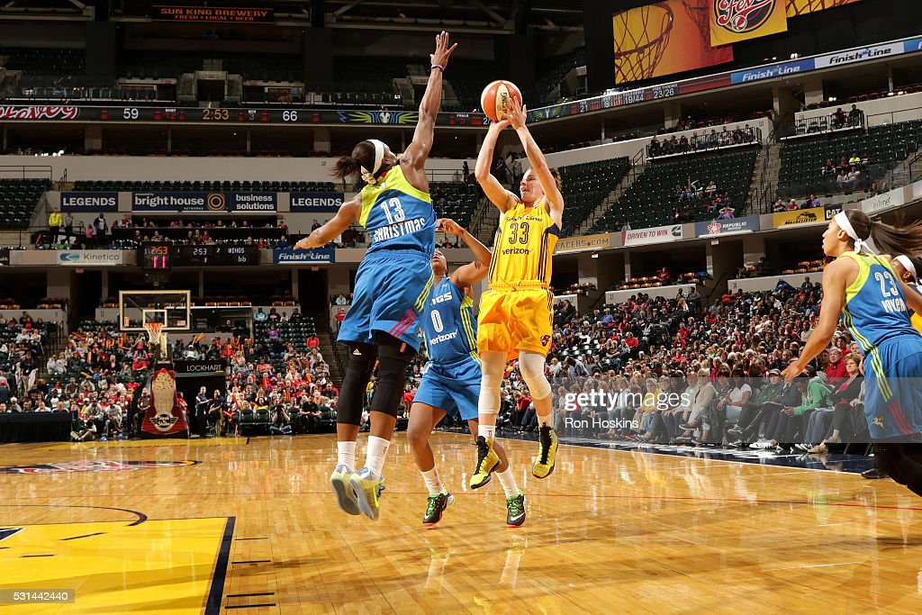 <a gi-track='captionPersonalityLinkClicked' href=/galleries/search?phrase=Maggie+Lucas&family=editorial&specificpeople=7449966 ng-click='$event.stopPropagation()'>Maggie Lucas</a> #33 of the Indiana Fever shoots the ball during the game against the Dallas Wings on May 14, 2016 at Bankers Life Fieldhouse in Indianapolis, Indiana.
