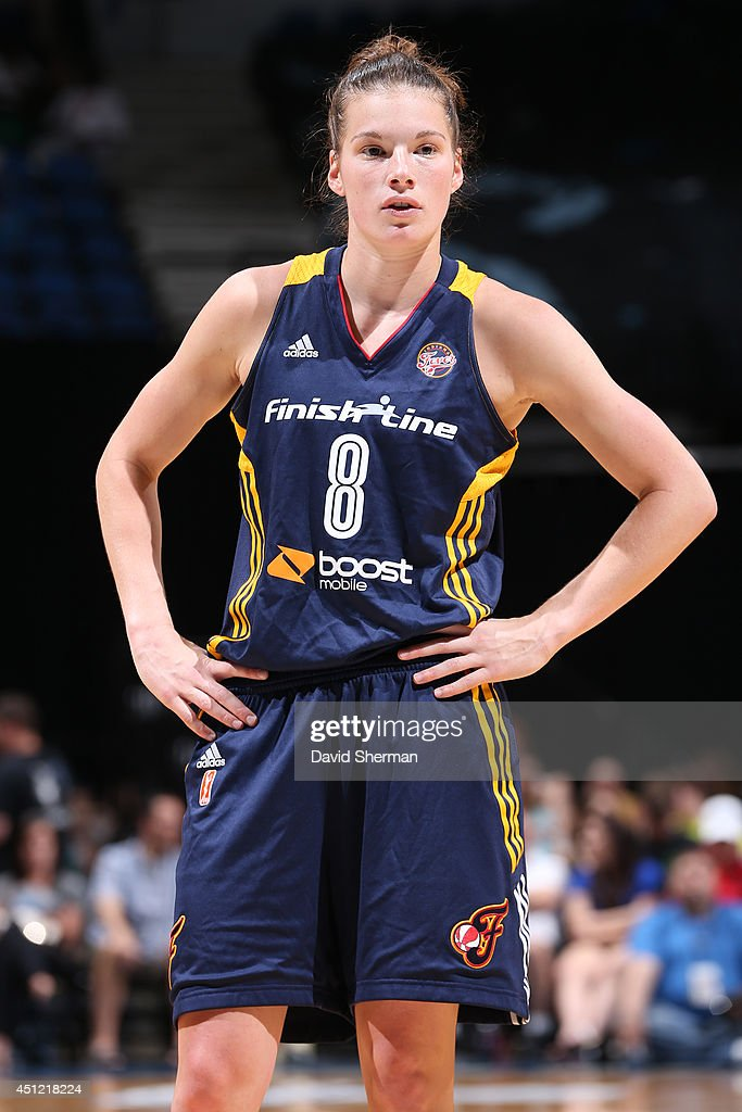 <a gi-track='captionPersonalityLinkClicked' href=/galleries/search?phrase=Maggie+Lucas&family=editorial&specificpeople=7449966 ng-click='$event.stopPropagation()'>Maggie Lucas</a> #8 of the Indiana Fever stands on the court against the Minnesota Lynx during the WNBA game on June 22, 2014 at Target Center in Minneapolis, Minnesota.