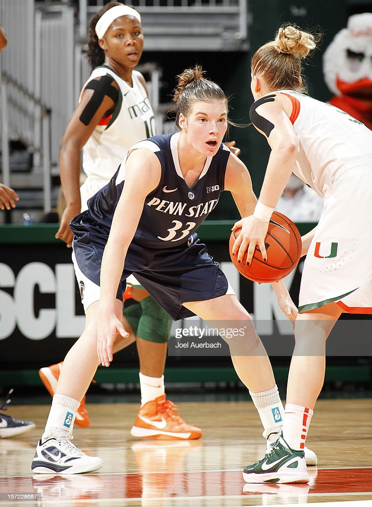 Maggie Lucas #33 of the Penn State Lady Lions defends against Stefanie Yderstrom #3 of the Miami Hurricanes on November 29, 2012 at the BankUnited Center in Coral Gables, Florida. Miami defeated Penn State 69-65.