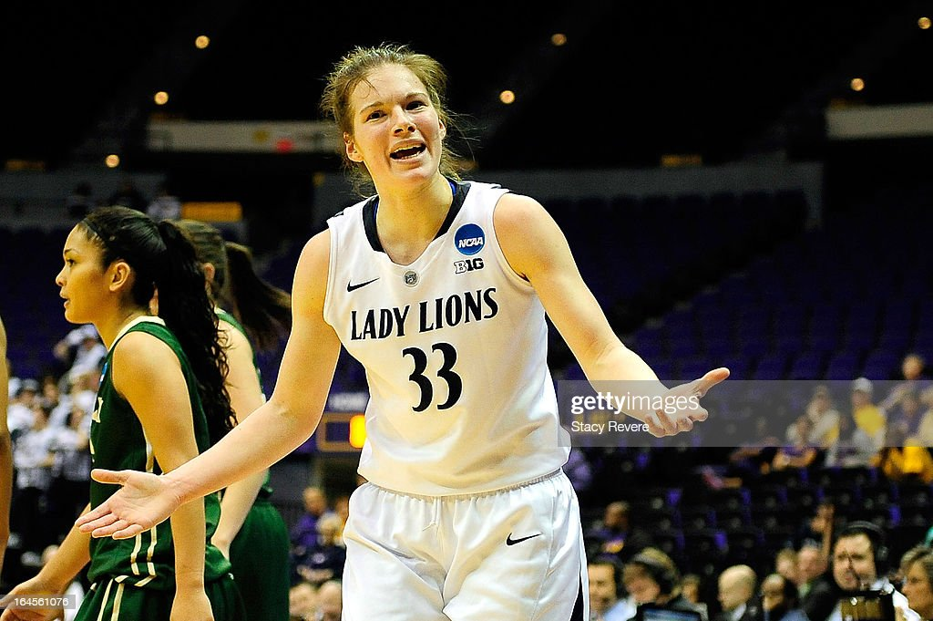 <a gi-track='captionPersonalityLinkClicked' href=/galleries/search?phrase=Maggie+Lucas&family=editorial&specificpeople=7449966 ng-click='$event.stopPropagation()'>Maggie Lucas</a> #33 of the Penn State Lady Lions reacts to an official's call during the first round of the NCAA Tournament against the Cal Poly Mustangs at the Pete Maravich Assembly Center on March 24, 2013 in Baton Rouge, Louisiana.