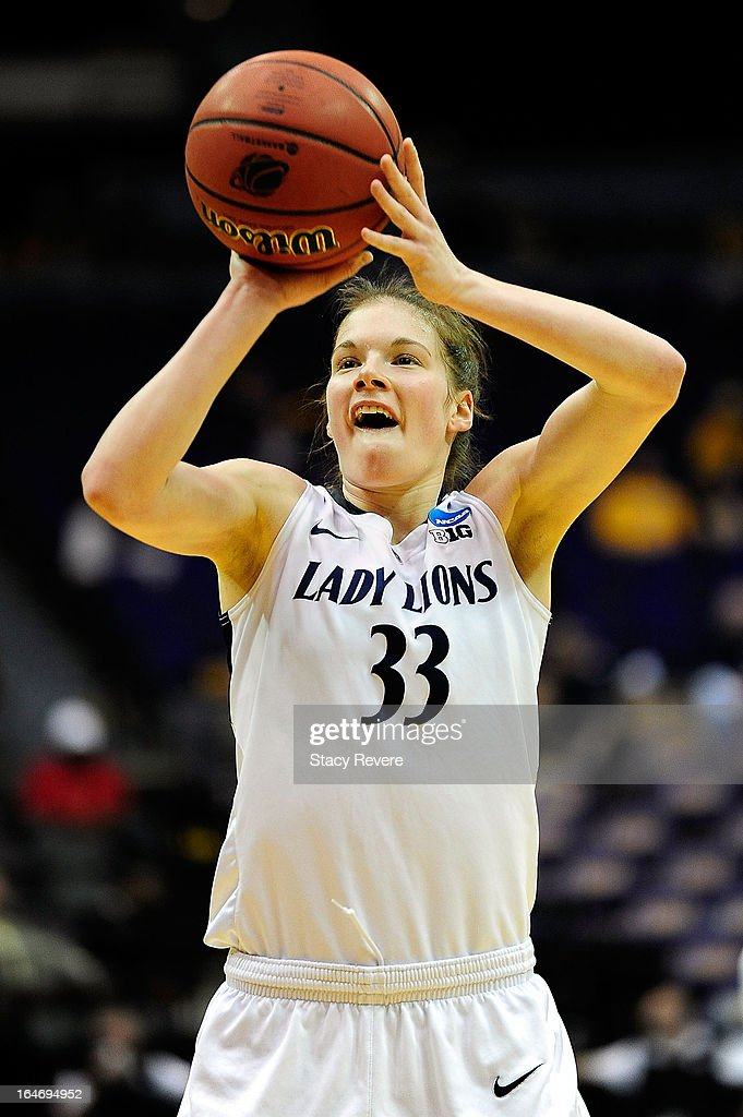 Maggie Lucas #33 of the Penn State Lady Lions shoots a free throw against the LSU Tigers during the second round of the NCAA Tournament at the Pete Maravich Assembly Center on March 26, 2013 in Baton Rouge, Louisiana.
