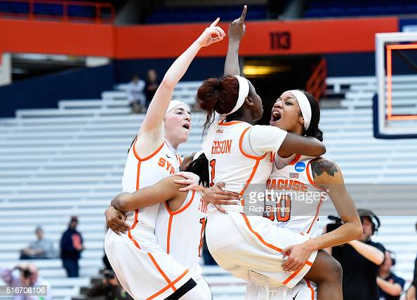 Maggie Morrison Cornelia Fondren Alexis Peterson and Briana Day of the Syracuse Orange react following the game against the Albany Great Danes in the...