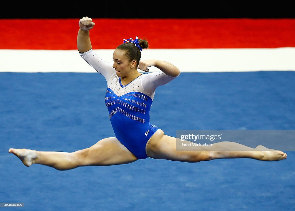 Maggie Nichols competes on the floor exercise in the senior women finals during the 2014 P&G Gymnastics Championships at Consol Energy Center on August 23, 2014 in Pittsburgh, Pennsylvania.