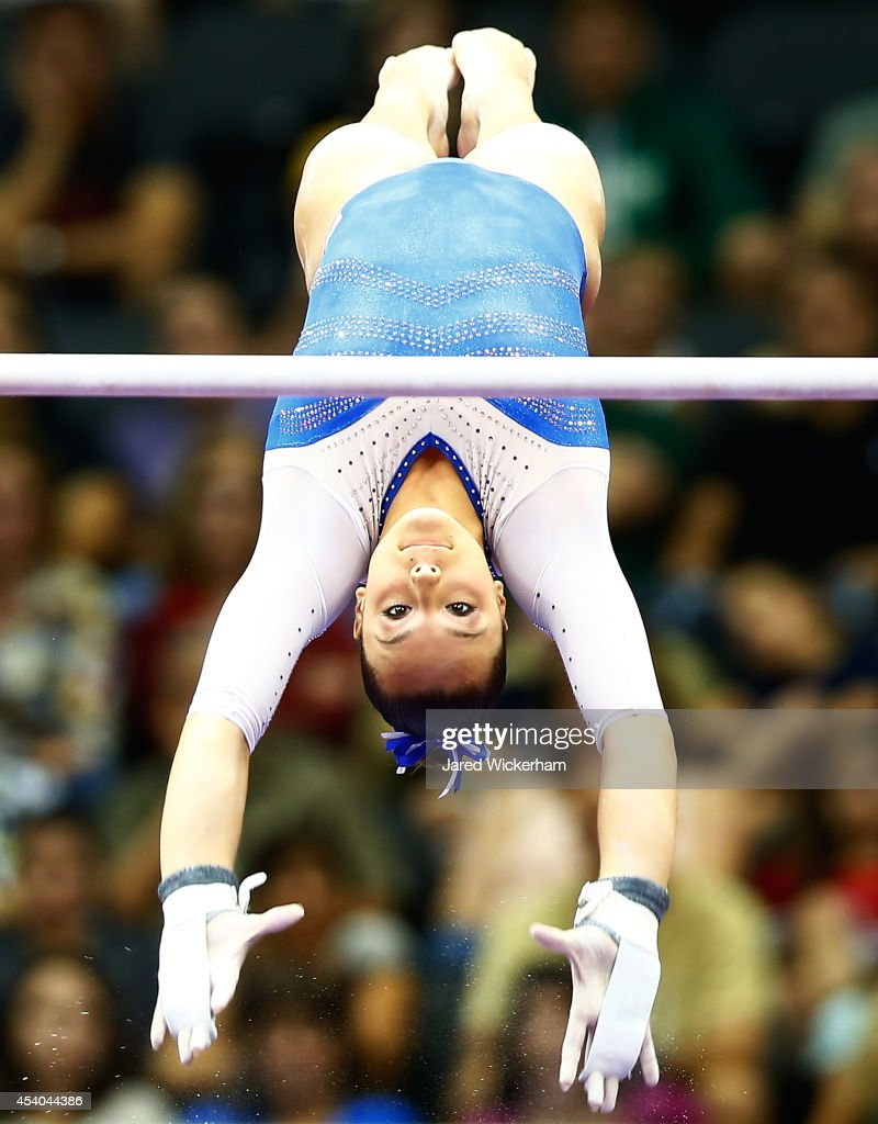 Maggie Nichols competes on the uneven bars in the senior women finals during the 2014 P&G Gymnastics Championships at Consol Energy Center on August 23, 2014 in Pittsburgh, Pennsylvania.