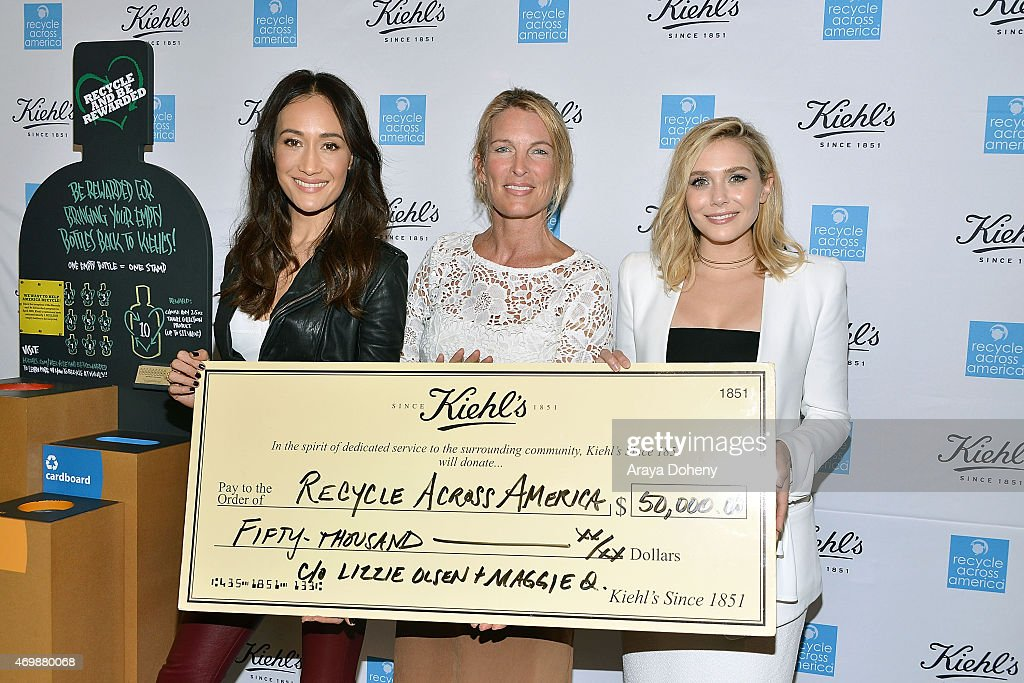Maggie Q, Mitch Hedlund and Elizabeth Olsen attend the Kiehl's 2015 Earth Day Project with Benefitting Recycle Across America at Kiehls Since 1851 Santa Monica Store on April 15, 2015 in Santa Monica, California.