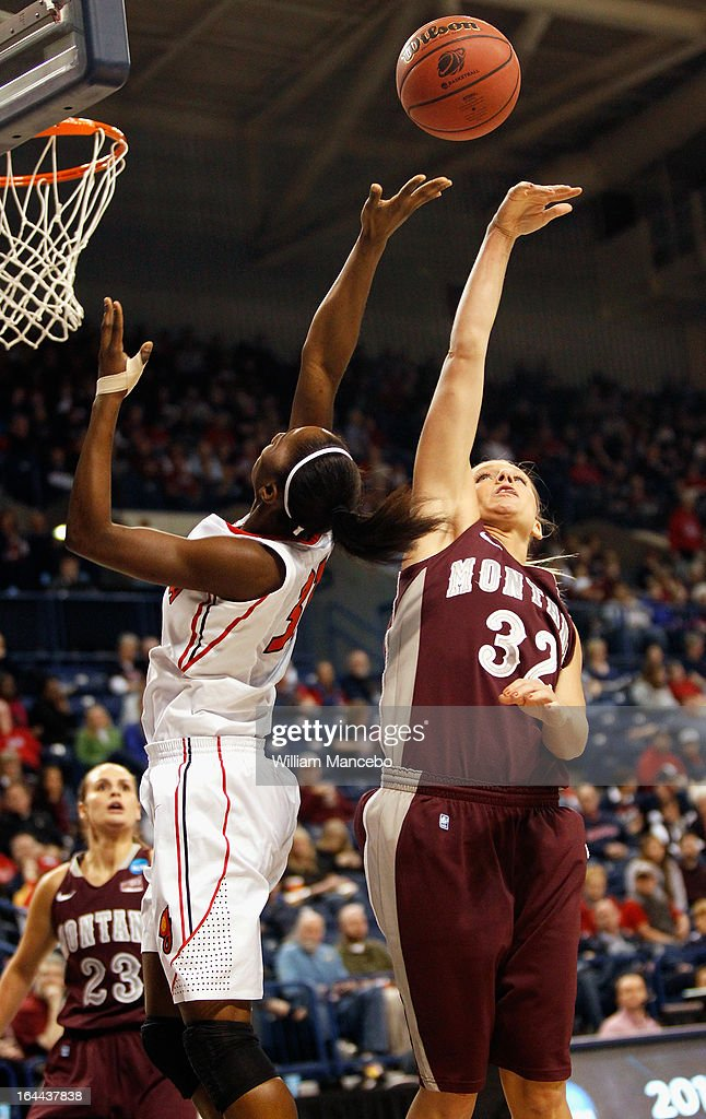 Maggie Rickman #32 of the Montana Grizzlies blocks the shot of Erika Ford #31 of the Georgia Lady Bulldogs during the game at McCarthey Athletic Center on March 23, 2013 in Spokane, Washington. The Lady Bulldogs defeated the Grizzlies 70-50.