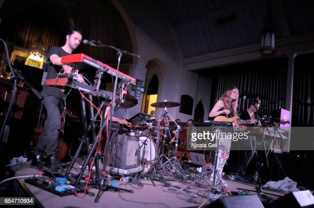 Maggie Rogers Dana La Marca and Grant Zubritsky perform onstage at the Communion music showcase during 2017 SXSW Conference and Festivals at St...