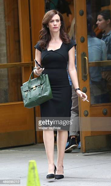 Maggie Siff filming outside the Lyric Theatre on the set of the Showtime series 'Billions' on September 22 2015 in New York City