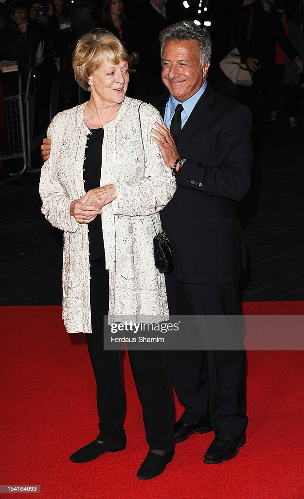 Maggie Smith and Dustin Hoffman attend the Premiere of 'Quartet' during the 56th BFI London Film Festival at Odeon Leicester Square on October 15, 2012 in London, England.