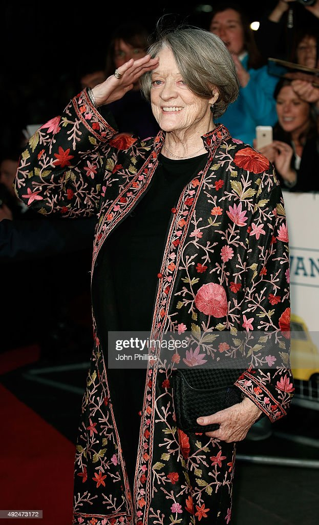 <a gi-track='captionPersonalityLinkClicked' href=/galleries/search?phrase=Maggie+Smith&family=editorial&specificpeople=206821 ng-click='$event.stopPropagation()'>Maggie Smith</a> arrives at 'The Lady In The Van' - Centrepiece Gala, at Odeon Leicester Square on October 13, 2015 in London, England.