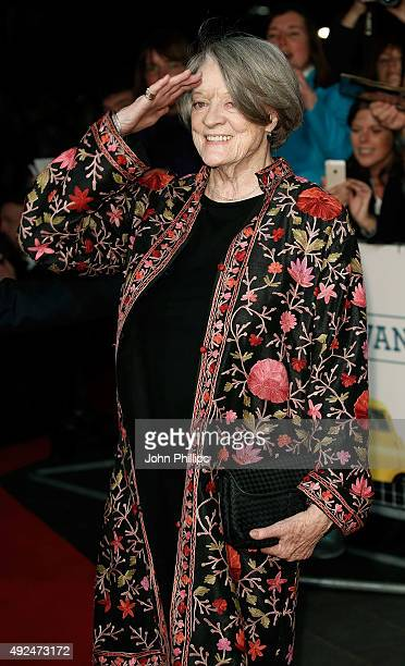 Maggie Smith arrives at 'The Lady In The Van' Centrepiece Gala at Odeon Leicester Square on October 13 2015 in London England