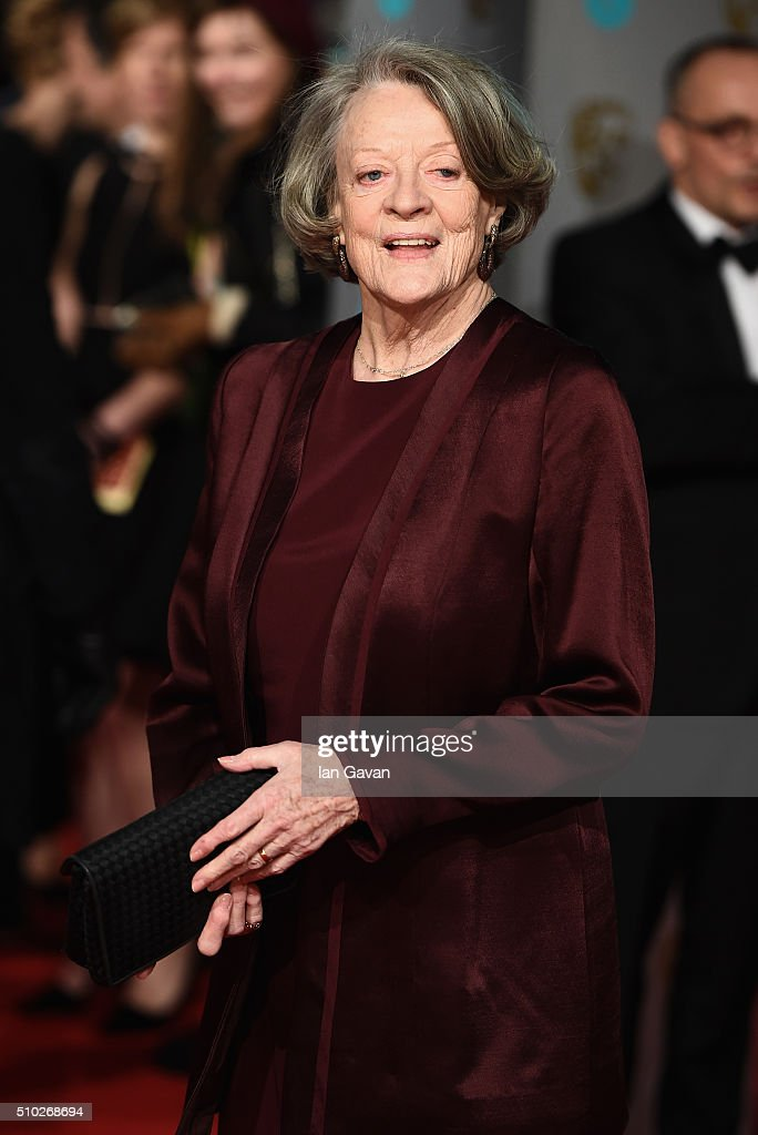 <a gi-track='captionPersonalityLinkClicked' href=/galleries/search?phrase=Maggie+Smith&family=editorial&specificpeople=206821 ng-click='$event.stopPropagation()'>Maggie Smith</a> attends the EE British Academy Film Awards at the Royal Opera House on February 14, 2016 in London, England.