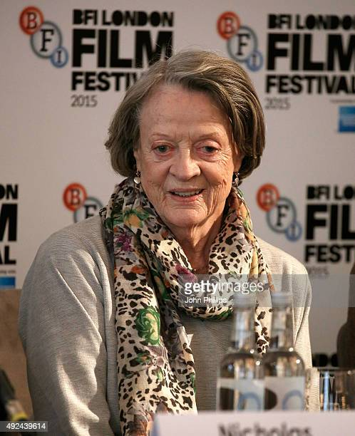 Maggie Smith attends 'The Lady In The Van' press conference at Claridges Hotel on October 13 2015 in London England