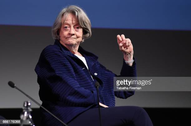 Maggie Smith speaks on stage during the 'In Conversation With' chaired by Mark Lawson at the BFI Radio Times TV Festival at the BFI Southbank on...