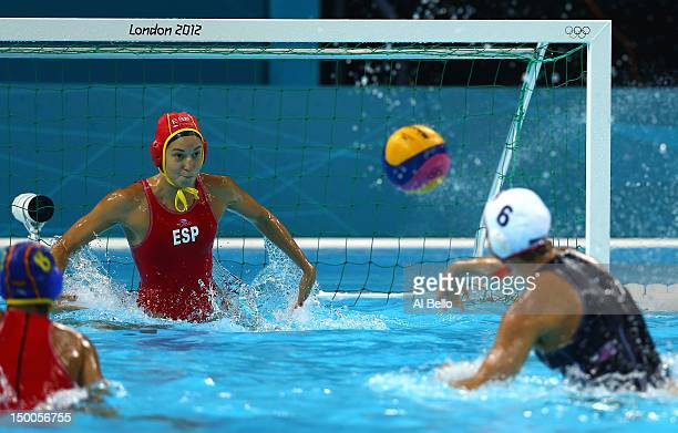 Maggie Steffens of United States shoots and scores a goal in the Women's Water Polo Gold Medal match between the United States and Spain on Day 13 of...
