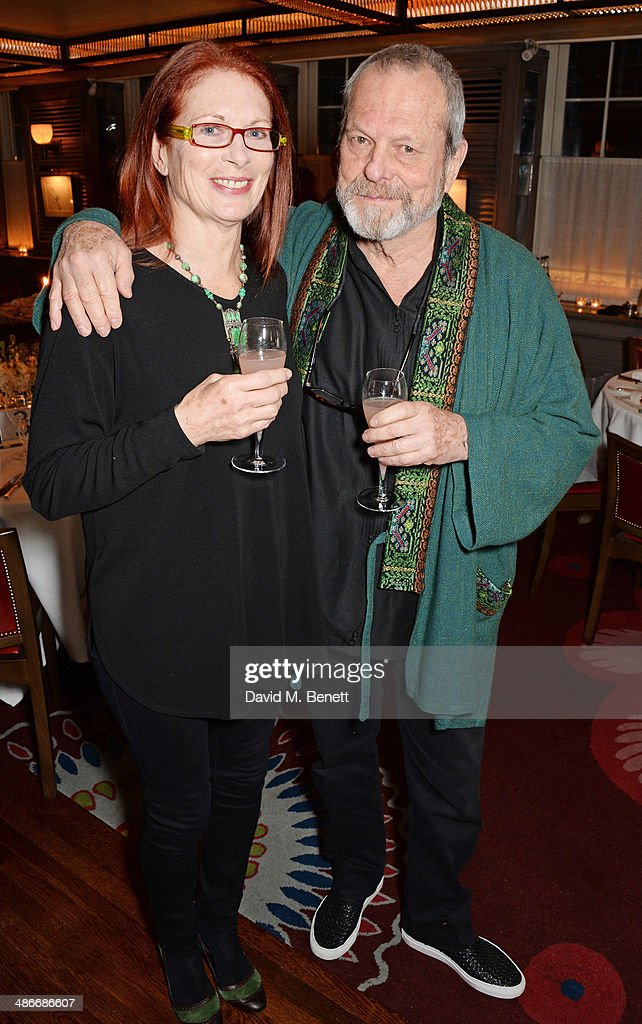 Maggie Weston and Terry Gilliam attend an exclusive dinner hosted by Charles Finch Mulberry and PORTER Magazine for Julian Schnabel at 34 Grosvenor...