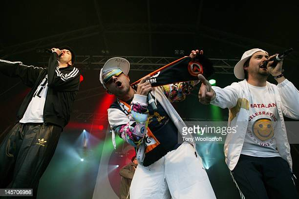 Maggot and Adam Hussian of Goldie Lookin Chain perform at day three of Osfest at The Oswestry Showground on June 3 2012 in Oswestry England
